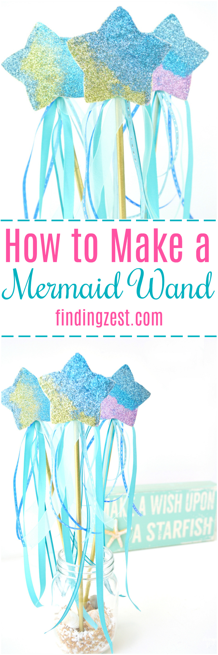 Ever wonder how to make a mermaid wand? These step by step instructions will show you how easy it is to create a magic wand for kids fit for any mermaid fan! Makes for great mermaid birthday party favors or craft activity. Colors can easily be switched out to create a star wand for any princess, fairy or unicorn party.