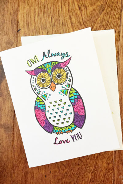 Valentine Cards Printable: Owl Coloring Page