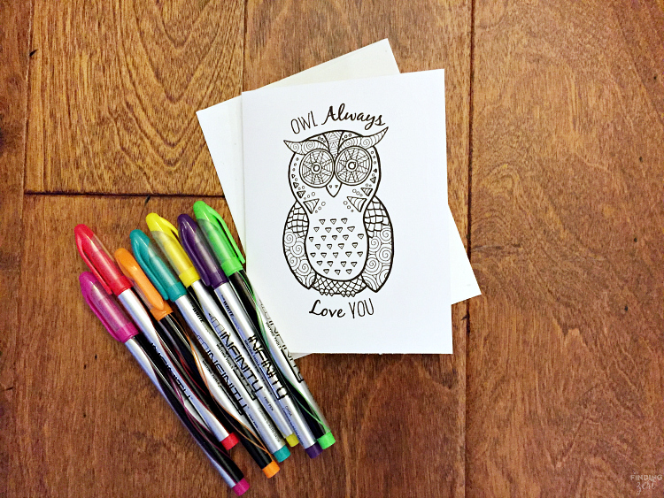 Remind your friends and family how much you care with this owl coloring page free printable. While it is the perfect valentine cards printable, it also works year round to show your love. Download this free owl card printable today!