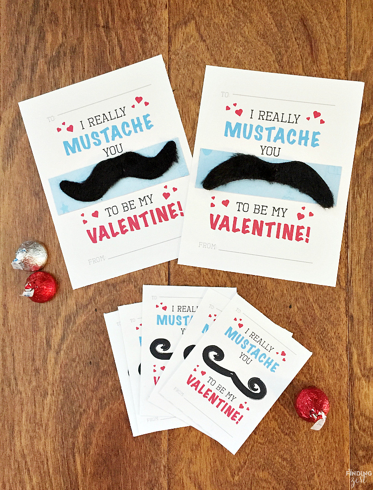 photo about Free Mustache Printable named Mustache Valentine Playing cards Free of charge Printable - Discovering Zest