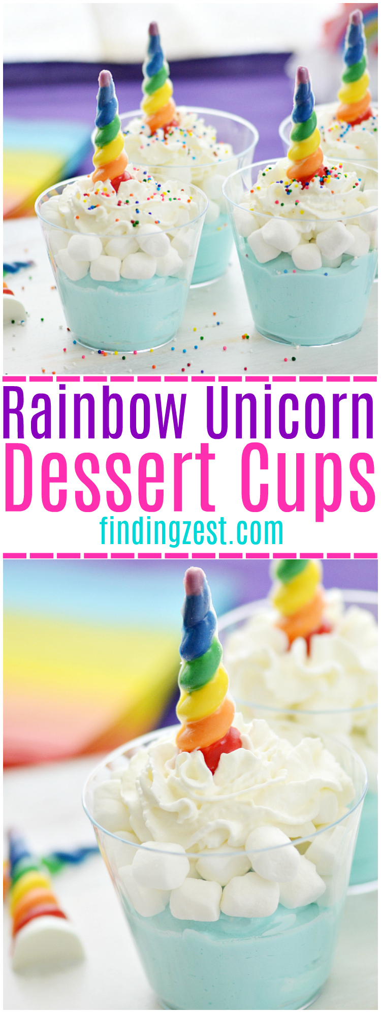Unicorns and rainbows is killer combination, especially for a unicorn party! These fun rainbow unicorn dessert cups feature blue mousse, marshmallows, whipped cream and sprinkles. The star of this dessert are the chocolate rainbow unicorn horns! I'll show you how to make them for a fun unicorn party dessert.