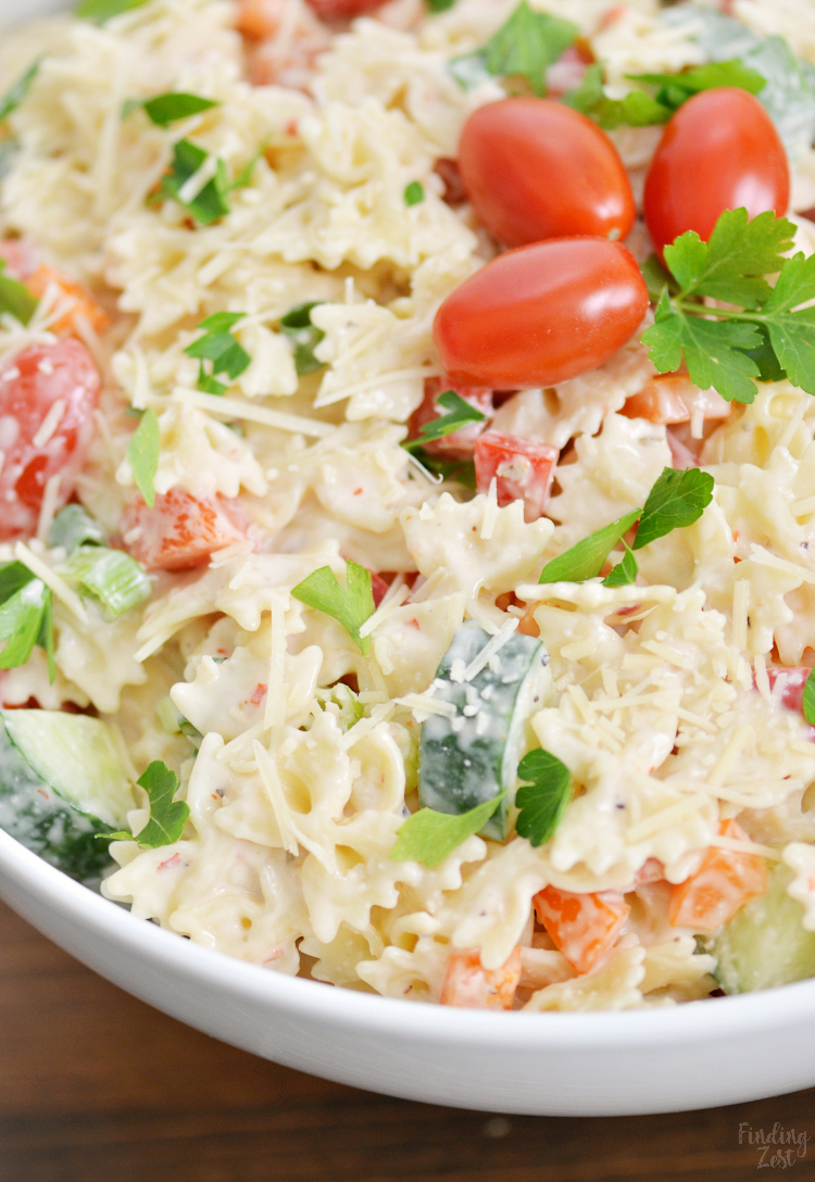 This Creamy Bowtie Pasta Salad Is Loaded With Veggies And Flavor But A Super Easy