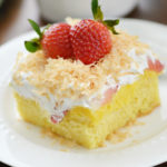 Strawberry Poke Cake with Toasted Coconut