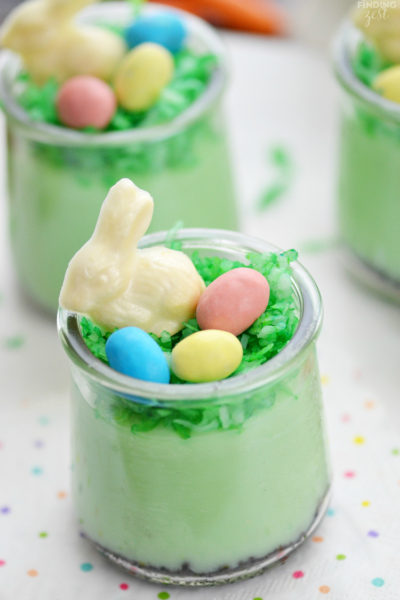These pistachio pudding dessert parfaits are as adorable as they are delicious. If you need quick and easy Easter desserts, look no further than these no-bake pudding cups with homemade white chocolate bunnies, eggs and coconut grass!