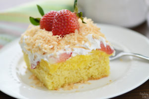 Take your cake to another level with this strawberry poke cake! This easy pudding poke cake is light, moist and loaded with flavor. It has become one of our favorite poke cake recipes! Try this poke cake recipe for Easter, Mother's Day or any spring or summer celebrations.