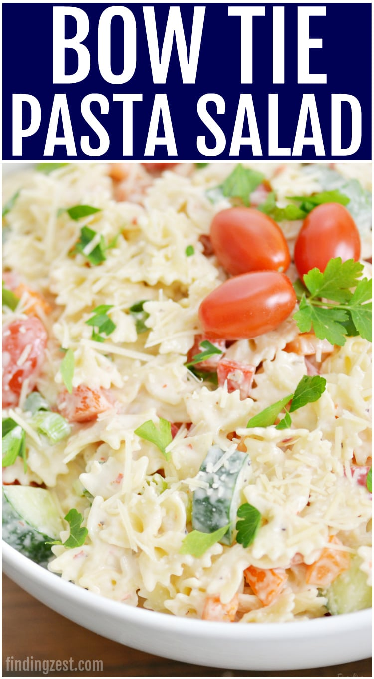 This bow tie pasta salad is a great summer side dish! This cold salad is loaded with flavor and has plenty of veggies.  Love a creamy pasta salad with no mayo? This recipe is for you!