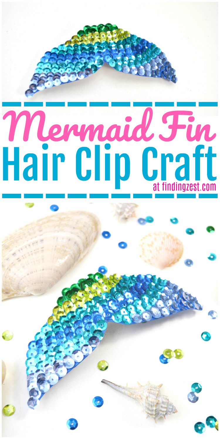 Love mermaid hair? This easy mermaid fin hair clip craft is a great way to get the look without the commitment of hair dyes. Makes a great mermaid activity for birthday parties or as a rainy day project for kids. Pair this mermaid fin clip with colorful hair extensions & you've got an inexpensive mermaid hair option!