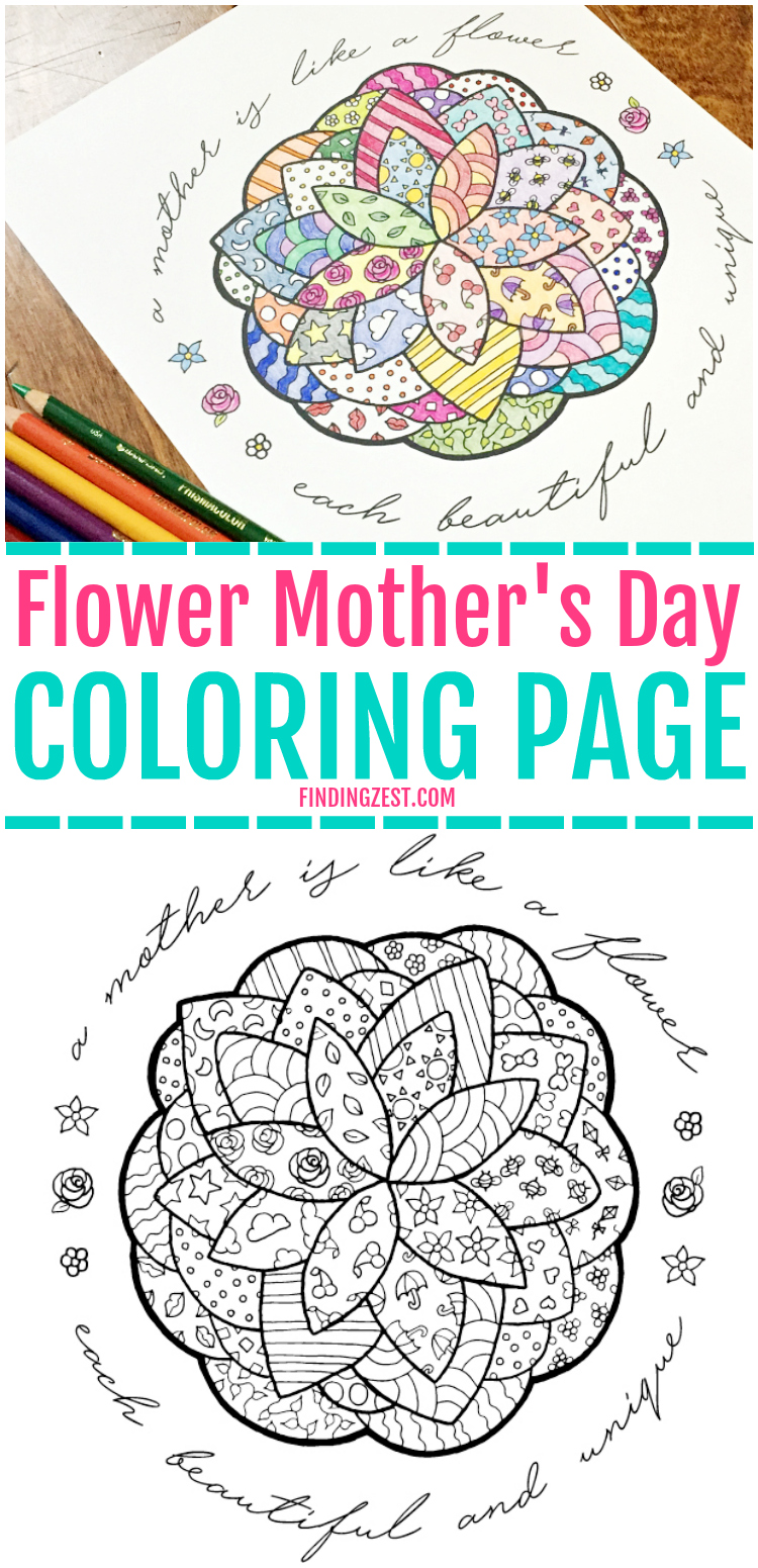 Mother\'s Day Coloring Page with Flower - Finding Zest