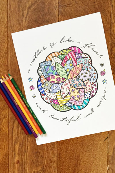 Need a thoughtful but inexpensive gift for Mother's Day? Mother's Day coloring pages like this flower with mother quote is the perfect way to show you care. Any mother would love to display this artwork from the heart and the style works great for kids and adults. Download this free Mother's Day Coloring Page today!