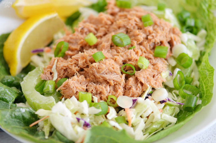 Get a delicious high protein, low carb lunch with these easy Buffalo Lettuce Wraps. Featuring Starkist Tuna Creations® BOLD Hot Buffalo Style, this lettuce wrap recipe is one you'll want in your recipe box. Your taste buds will love the kick this tuna pouch adds! Only five ingredients are required to enjoy this simple lunch idea.