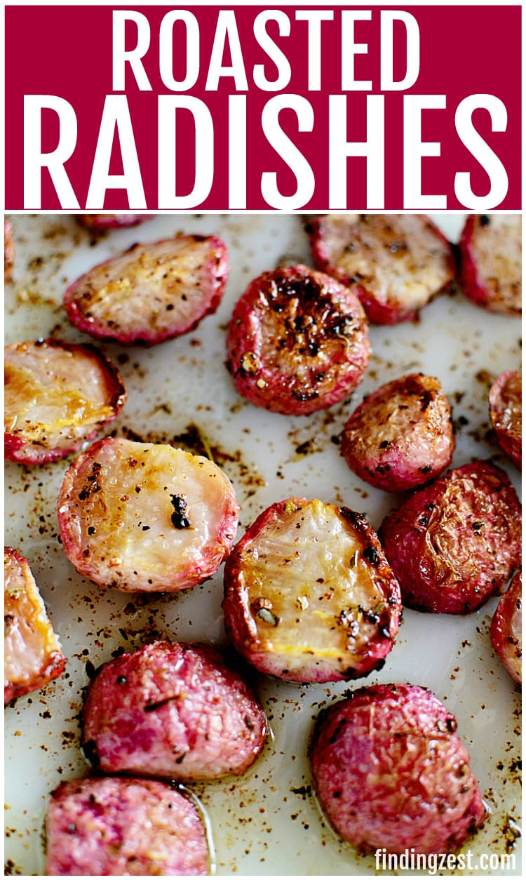 Roasted radishes are a great substitute for potatoes! Whether you are following a low carb lifestyle or just want a new way to enjoy fresh radishes, this radish recipe is for you! Once roasted, these fresh radishes lose their spicy, peppery flavor and taste great with a dollop of sour cream, making it a great low carb side dish!