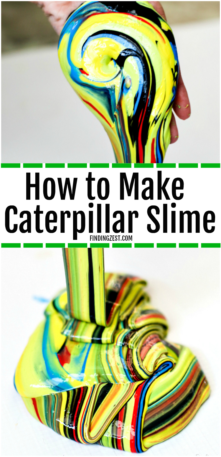 Learn how to make slime without Borax, including brightly colored slime that is sure to grab everyone's attention. Inspired by nature, this caterpillar slime recipe with liquid starch is so colorful and perfect for your outdoor lover! You won't believe how easy and fun this satisfying slime recipe is to make! #slime #slimerecipe #kids #kidscraft #kidsactivity #caterpillar #satisfyingslime