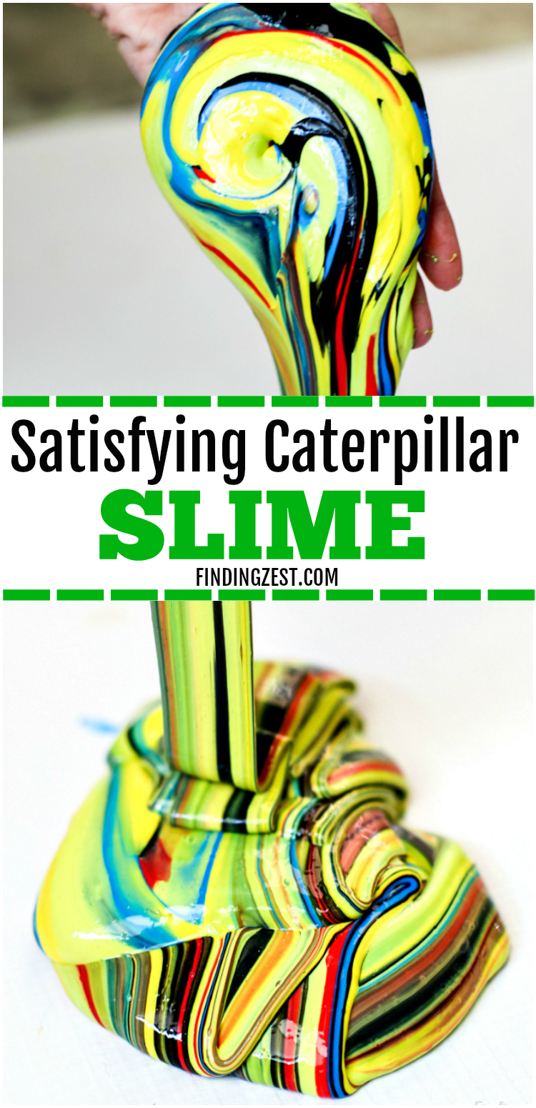 Learn how to make slime without Borax, including brightly colored slime that is sure to grab everyone's attention. Inspired by nature, this caterpillar slime recipe with liquid starch is so colorful and perfect for your outdoor lover! You won't believe how easy and fun this satisfying slime recipe is to make! #slime #slimerecipe #kids #kidsactivity #kidscraft #caterpillar #statisfyingslime