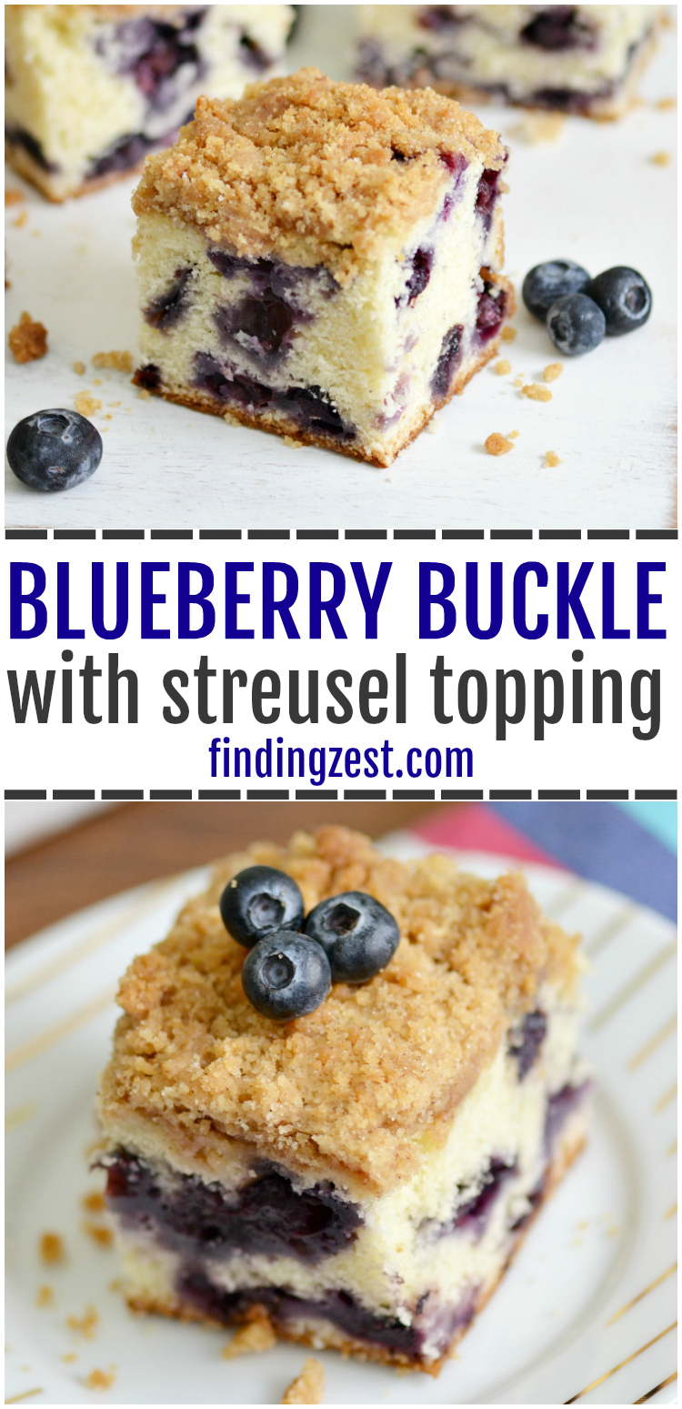 You are going to love this blueberry buckle recipe, bursting with fresh blueberries! This blueberry coffee cake from scratch has a crunchy streusel topping and can be served any time of day, including breakfast. Made in 9x13 inch pan, this blueberry buckle recipe feeds a crowd.