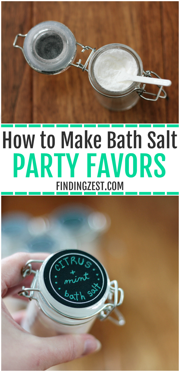 Learn how easy it is to make bath salt party favors! This is a simple and fun spa party activity but could easily be used as a gift for friends or even a wedding shower favor. Also includes tips on throwing a girls spa party. My daughter loved her spa birthday party, complete with facials, foot soaks, and party games. A kids spa party is a fun way to pamper the birthday girl and guests!