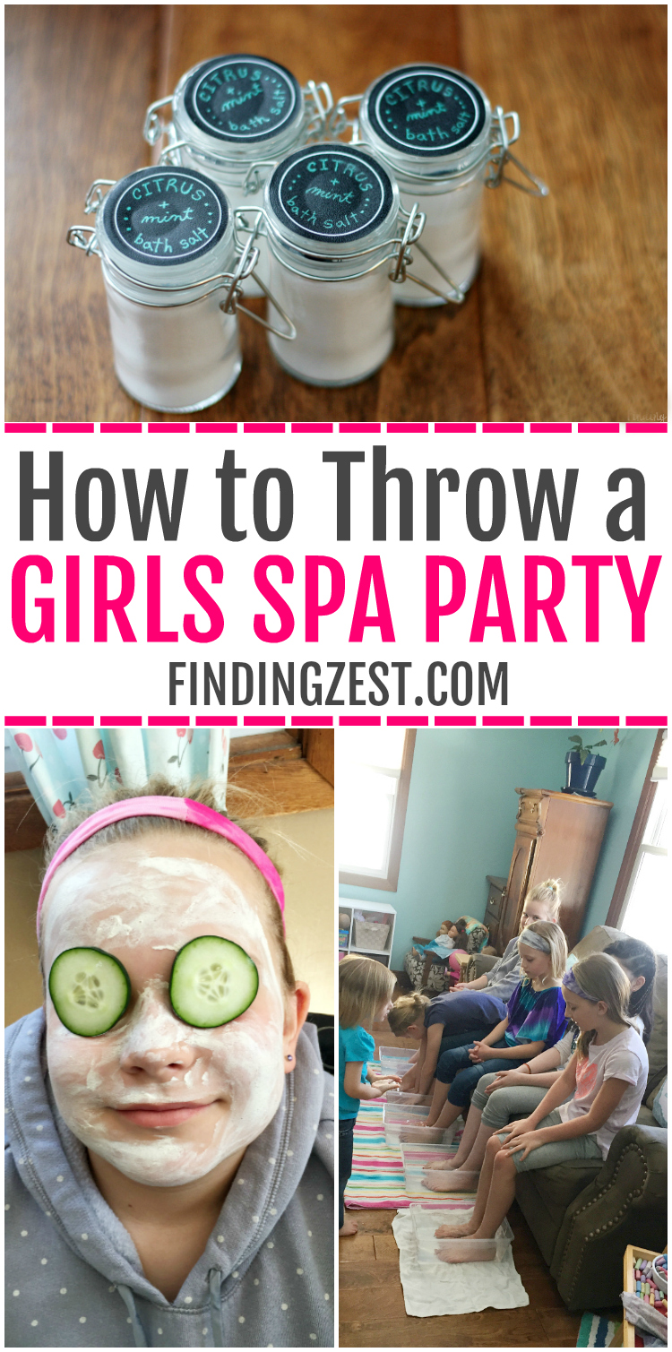 Learn how to throw a girls spa party, including homemade bath salts party favors. My daughter loved her spa birthday party, complete with facials, foot soaks, and party games. A kids spa party is a fun way to pamper the birthday girl and guests!