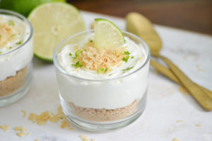 Make dessert in just 15 minutes with these no-bake key lime cheesecake cups! These parfaits can be whipped up in no time using Dannon Oikos Greek yogurt and cream cheese Topped with toasted coconut, this dessert is sure dazzle your taste buds!