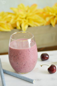 This cherry smoothie recipe is loaded with flavor and tastes like a cherry pie in a glass! This cherry yogurt smoothie offers a one, one two punch with both frozen cherries and tart cherry juice. You'll love this frothy smoothie!