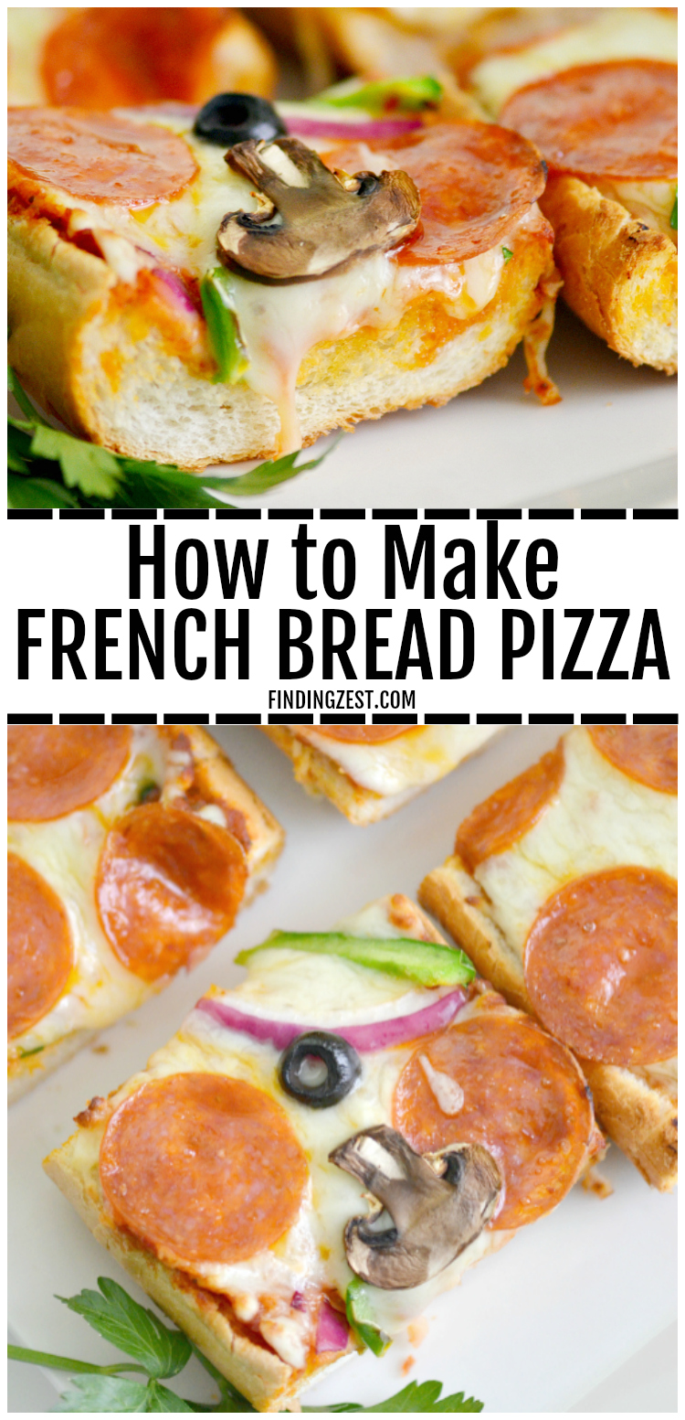 Whip up a delicious and easy weeknight dinner in under 20 minutes with this french bread pizza recipe. Loaded with your favorite pizza toppings including whole milk mozzarella cheese and garlic butter, the flavor is out of this world. Switch up toppings for variety and watch your family devour this pizza bread! #easyrecipe #easydinner #pizza #cheeselove #bts #pepperoni