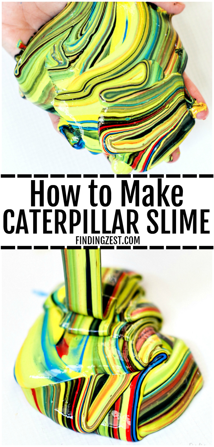 Learn how to make slime without Borax, including brightly colored slime that is sure to grab everyone's attention. Inspired by nature, this caterpillar slime recipe with liquid starch is so colorful and perfect for your insect lover! You won't believe how easy and fun this satisfying slime recipe is to make! #slime #slimerecipe #kids #kidsactivity #kidscraft #caterpillar #statisfyingslime