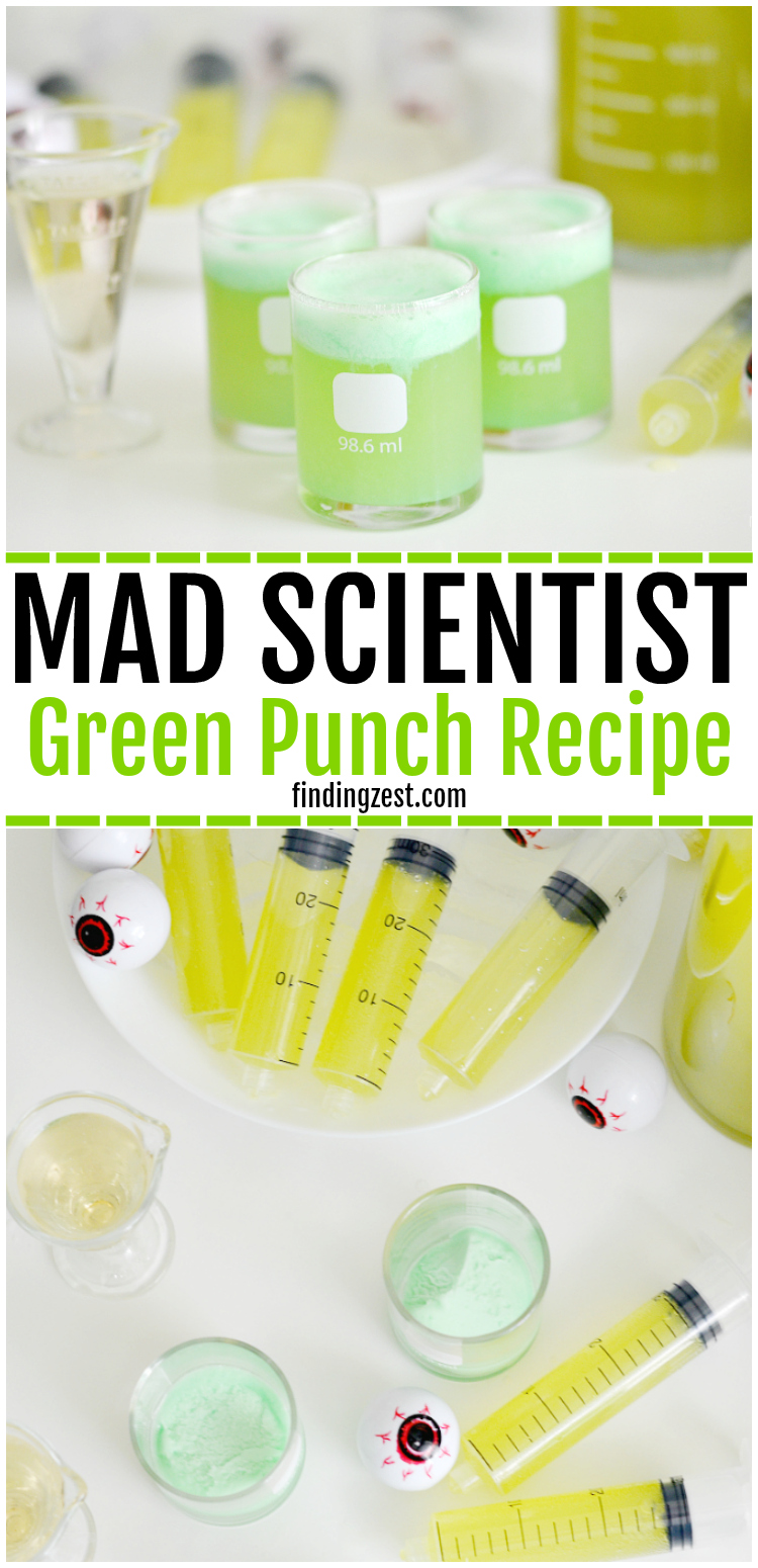 Kids will love this Mad Scientist Green Punch recipe which foams up naturally. Let your punch be the centerpiece of your mad scientist birthday party or Halloween party. Turn your drink into a science experiment and let kids make their own using syringes and beakers!