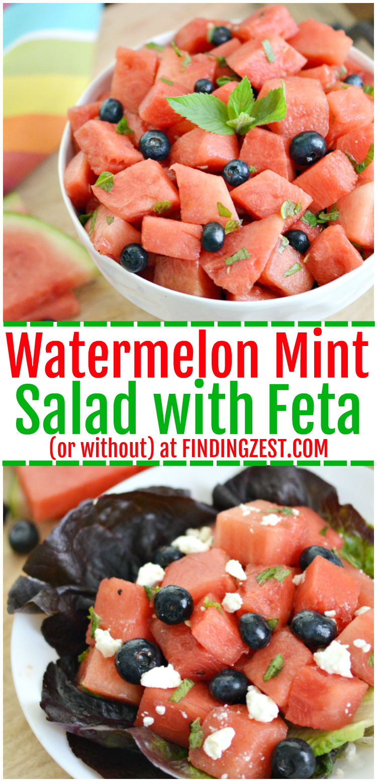 Get a taste of summer exploding in your mouth with this refreshing watermelon mint salad including blueberries and feta! Don't like feta? Feel free to skip it as this balsamic fruit salad recipe is amazing with or without cheese! #watermelon #salad #summerrecipes #sidedish #vegetarian #fruitsalad