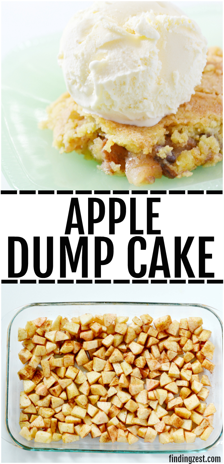 This apple dump cake is a deliciously easy recipe which features fresh apples and a yellow cake mix, no mixer required! The whole family will love this fall dessert served warm with a scoop of vanilla ice cream and you will love how quick this dump cake recipe is to make! #applerecipes #apples #dessert #Thanksgiving #falldessert