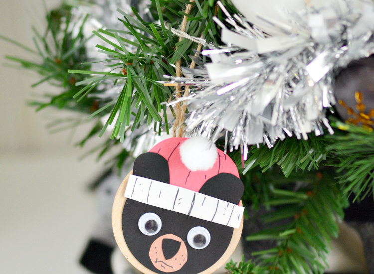 Get step by step instructions to make this fun black bear ornament craft inspired by the children's book Santa Bruce by Ryan T. Higgins.This is a great Christmas craft for kids or adults who love bears or are fans of Bruce!