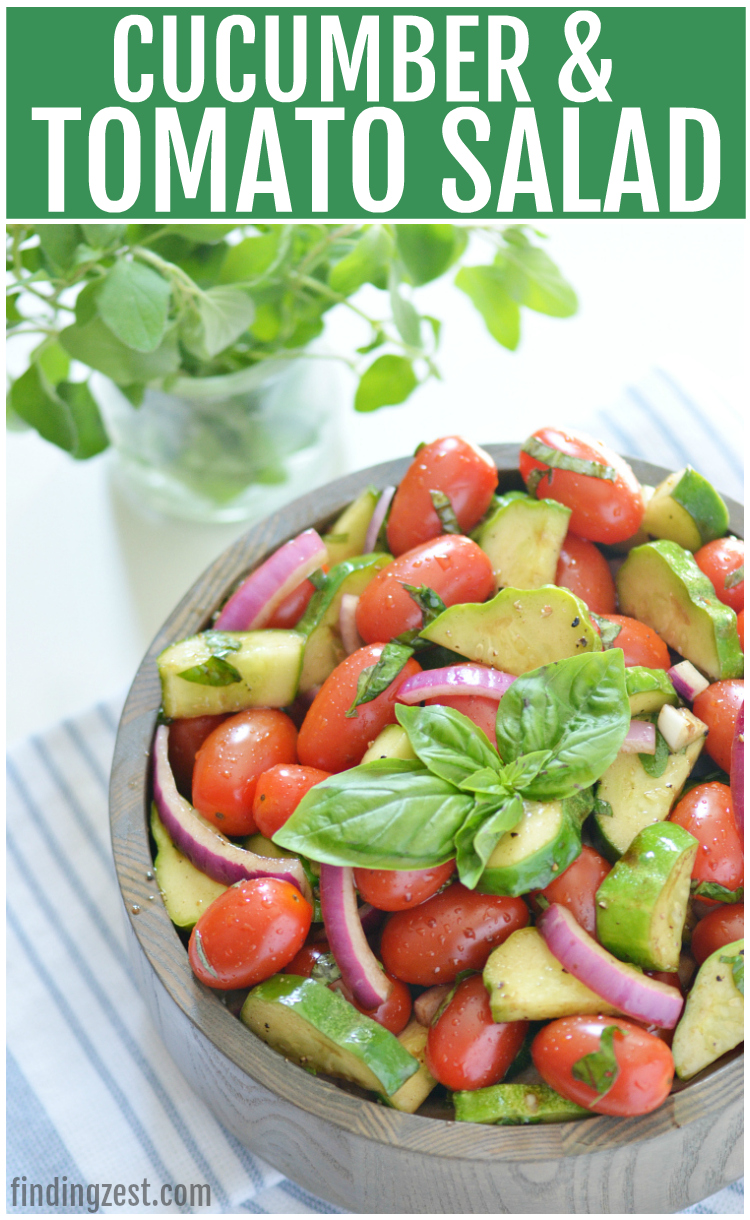 Enjoy this refreshing tomato cucumber salad loaded with fresh herbs, tomatoes, cucumbers, and onion. Let the vegetables marinate in the oil and balsamic vinegar dressing for even more flavor. The perfect side dish for any meal and a great way to use up that fall harvest!