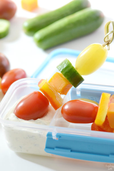 Make eating vegetables fun with veggie skewers dipped in homemade ranch dip! Putting anything on a stick makes eating it more enjoyable. Kids will love the ranch dip paired with fresh SUNSET®. vegetables including Wild Wonders®. tomatoes. Makes a great addition to any lunchbox or a tasty after school snack!