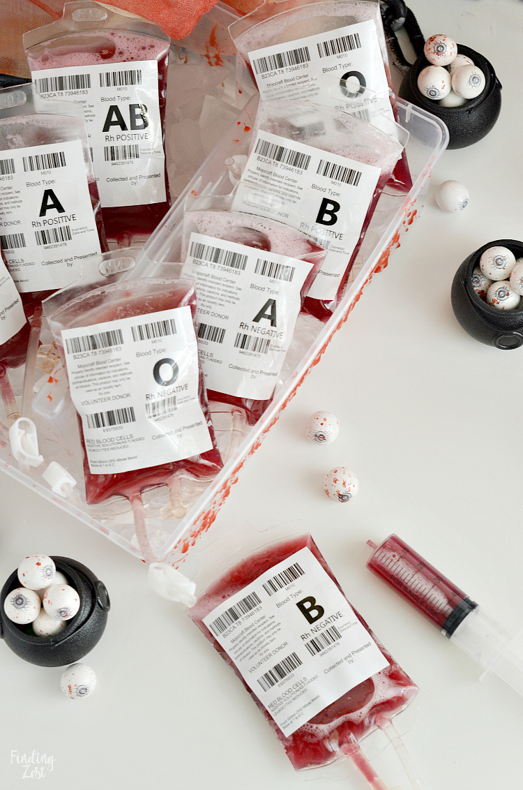 Blood Bags Halloween Drink Non Alcoholic Easy Fake Blood Splatters Finding Zest
