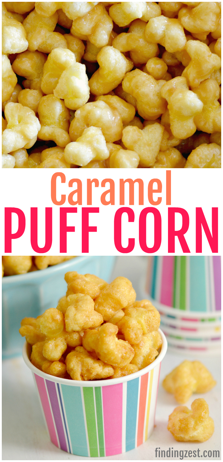 You'll love this caramel puff corn recipe, a tasty alternative to traditional caramel corn. Using bagged puff corn, this easy snack is baked for an awesome crunch without nuts. Works great for every day snacking, parties and game day! The hardest part will be keeping your hands off!