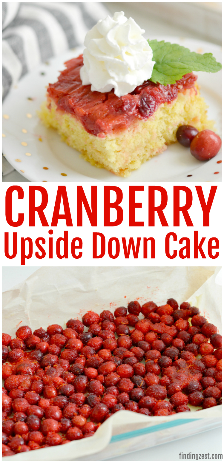 This easy Cranberry Upside Down Cake is the perfect blend of sweet and tart and features a soft and fluffy cake with pudding added. Guests won't be able to resist this cranberry cake that uses fresh cranberries and orange zest. Forget frosting and serve for Thanksgiving or Christmas dessert with whipped cream! #dessert #Christmas #cranberries