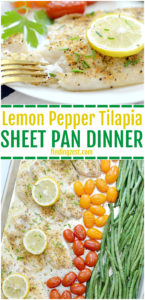 Mealtime has never been easier with this lemon pepper tilapia sheet pan dinner! Serve your family a healthy meal including tilapia, fresh green beans and tomatoes with one pan in under 30 minutes. This is a perfect low carb weeknight dinner when you are short on time.