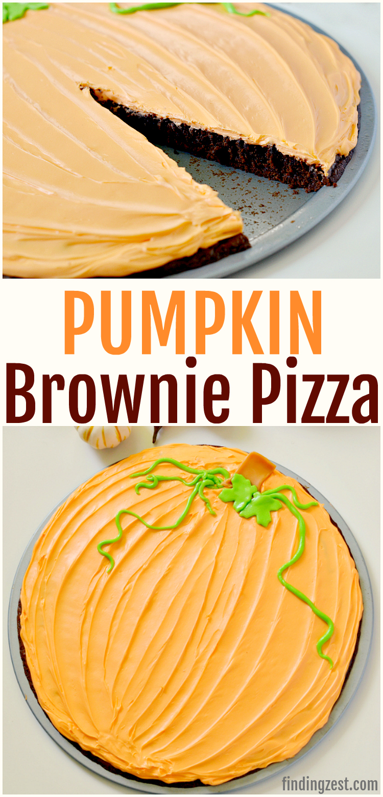 This pumpkin brownie pizza is a simple fall dessert with a wow factor that is easy and delicious! All you need is a brownie mix, a tub of frosting and some candy to turn this brownie into a pumpkin! This pumpkin shaped treat is kid friendly and perfect for a Halloween or Thanksgiving dessert table! #Thanksgiving #pumpkin #Halloween #thanksgivingdessert #thanksgivingrecipes #halloweendessert