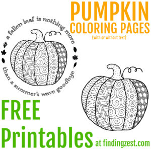 This pumpkin coloring page printable is available for free download. The perfect way to relax, this pumpkin free printable is great for both adults and kids. Two versions are available including one with and one without text. Print them off for a fun Halloween or Thanksgiving activity.