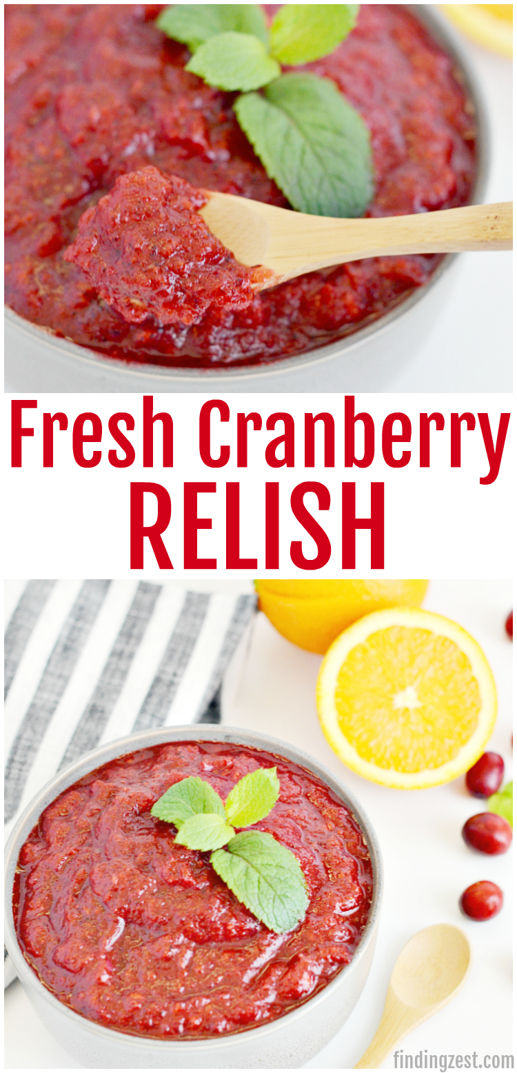 Add freshness to your holiday table with this cranberry relish! This easy cranberry recipe can be prepared in just 5 minutes with four ingredients and a blender! This sweet relish is a great alternative to cranberry sauce and looks beautiful on any holiday table. You can also use it add lots flavor to your holiday appetizers!