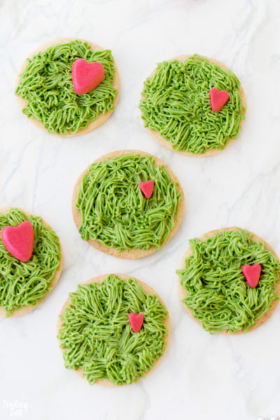 Grinch Cookies with Fur Frosting