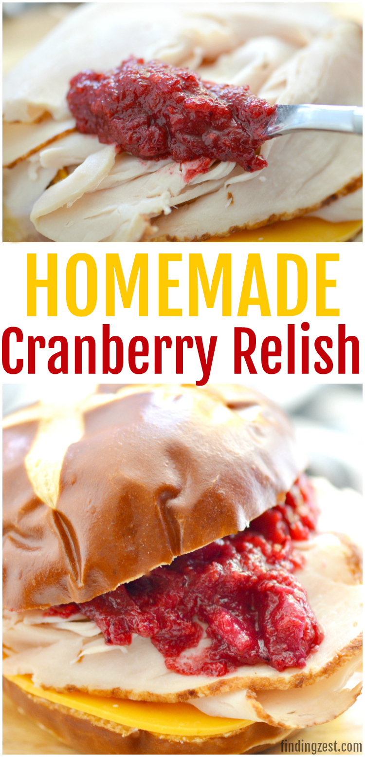 Add freshness to your holiday table with this cranberry relish! This easy cranberry recipe can be prepared in just 5 minutes with four ingredients and a blender! This sweet relish is a great alternative to cranberry sauce and looks beautiful on any holiday table. You can also use it add lots flavor to your holiday appetizers or leftover turkey sandwiches!
