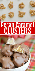 These delicious pecan caramel clusters are the perfect homemade candy recipe, perfect for the holidays or Valentine's Day! If you like homemade turtles, you'll love this chewy pecan caramel candy dipped in chocolate for a special treat.