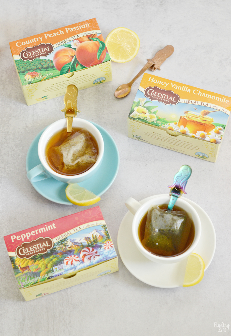 Celestial Seasonings Herbal Tea in Cups with Lemon Slices