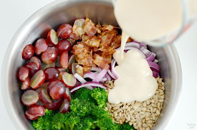 Pour mayo dressing over broccoli bacon salad