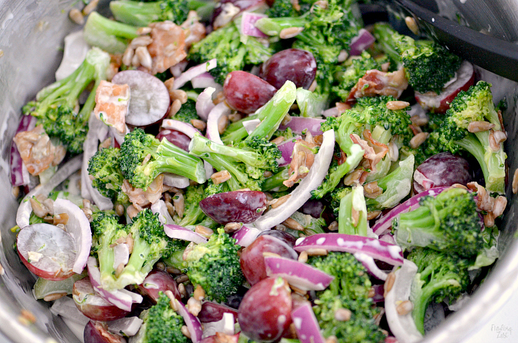 Closeup of broccoli grape salad