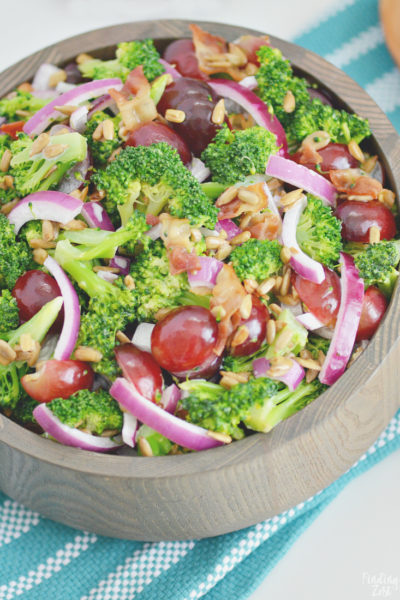 Broccoli salad with bacon grapes and sunflower seeds