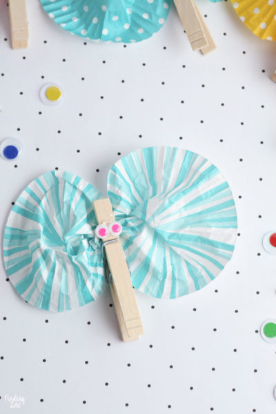 Blue and white clothespin butterfly