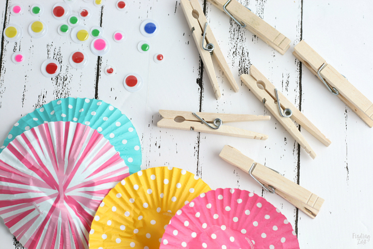 Materials needed for clothespin butterfly craft