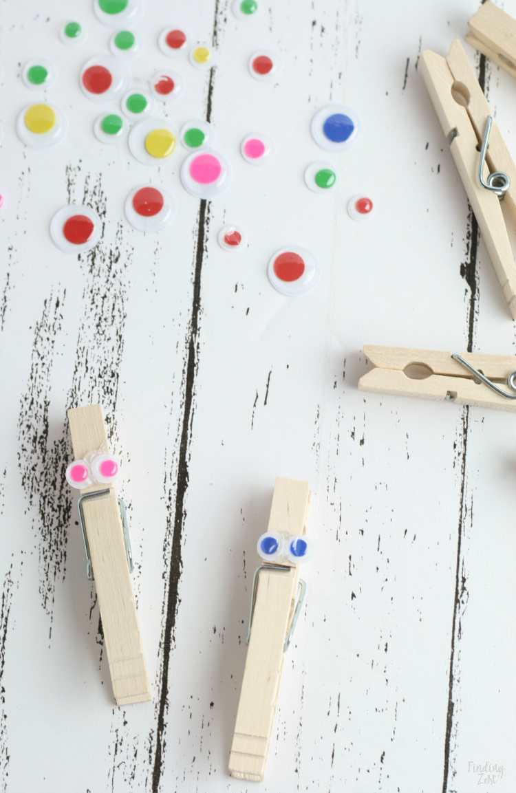 Adding eyes to clothespins