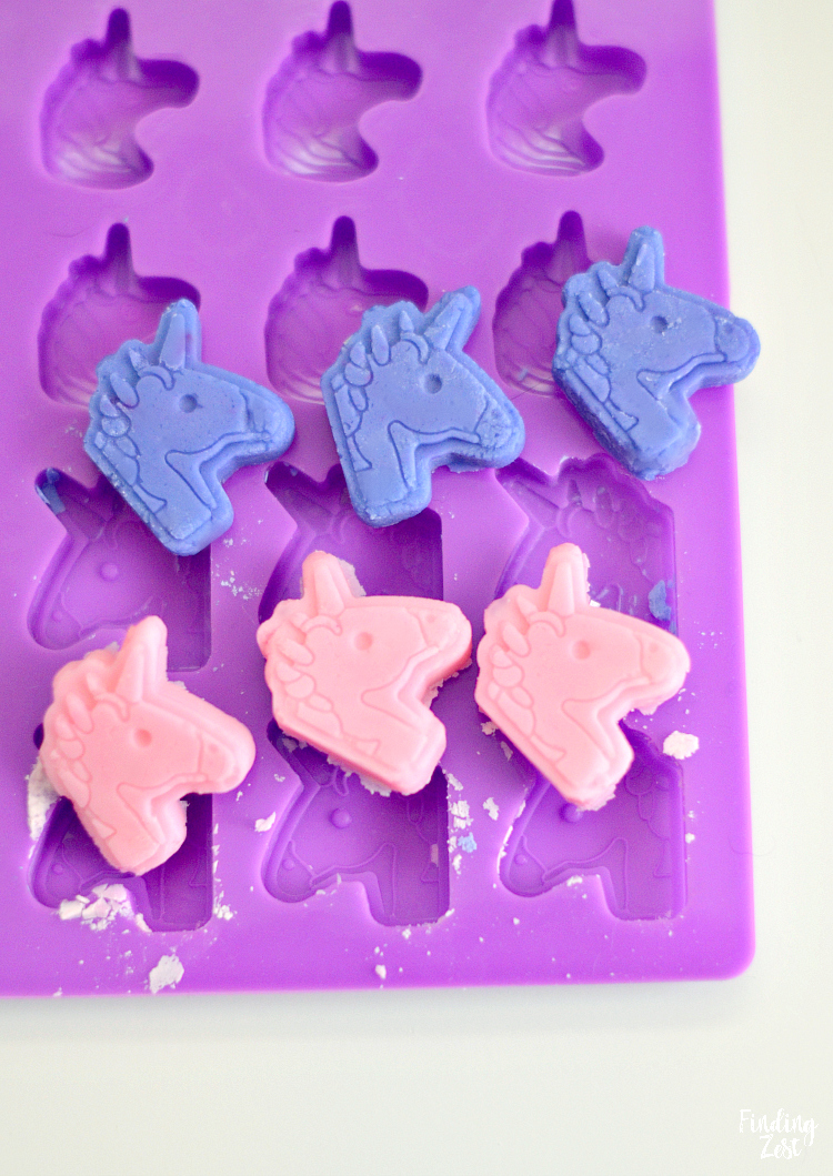 using a unicorn silicone mold to make cream cheese mints
