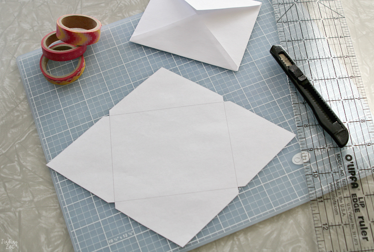 how to cut homemade envelope for valentines