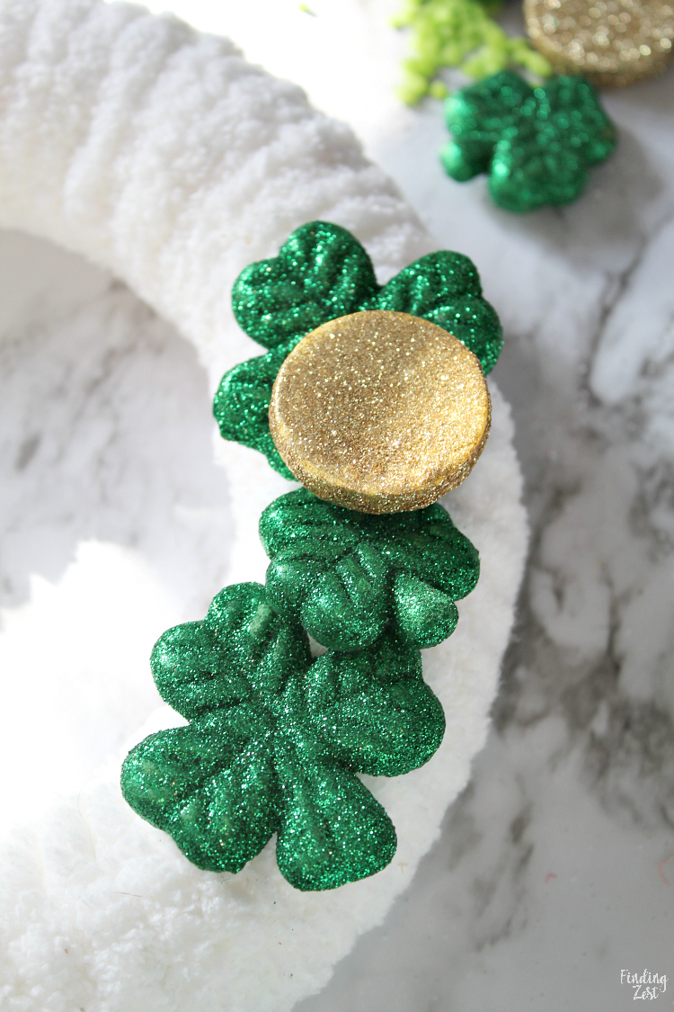 Closeup of shamrock wreath for st. patrick's day